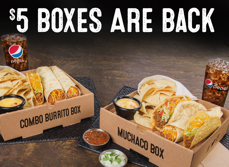 The North Texas Based Iconic Tex Mex Fast Food Chain Is Bringing Back Its Popular 5 Box Offering Hard Customers Delicious Combinations At A Compelling