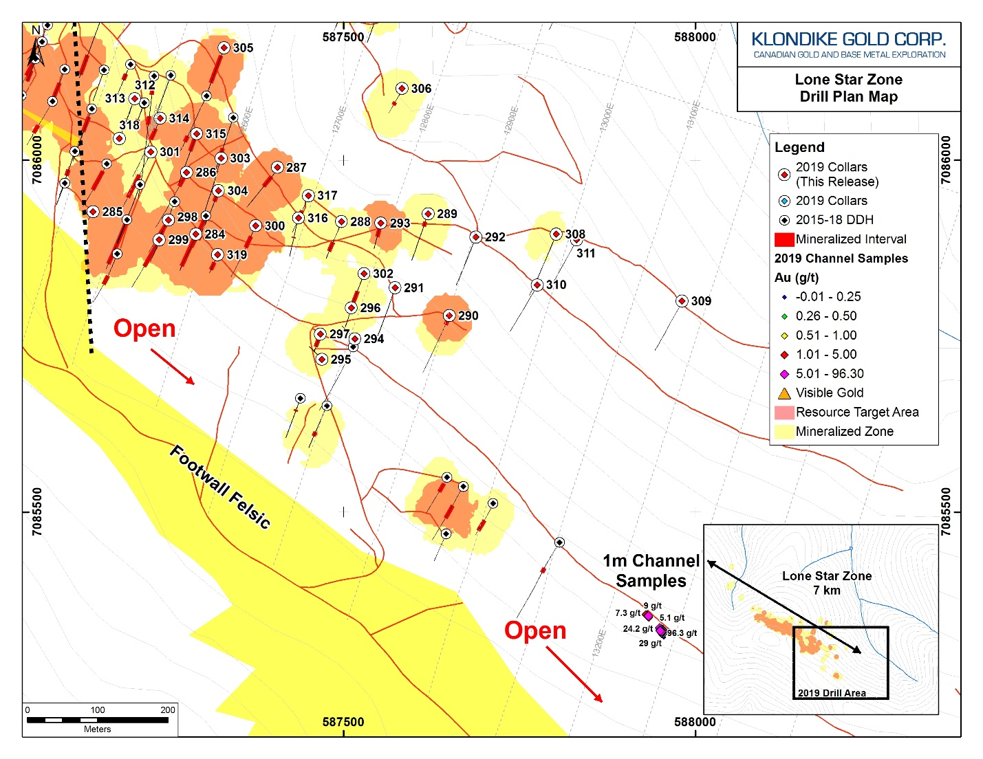 Drill Plan Map for Klondike Gold's Lone Star Zone