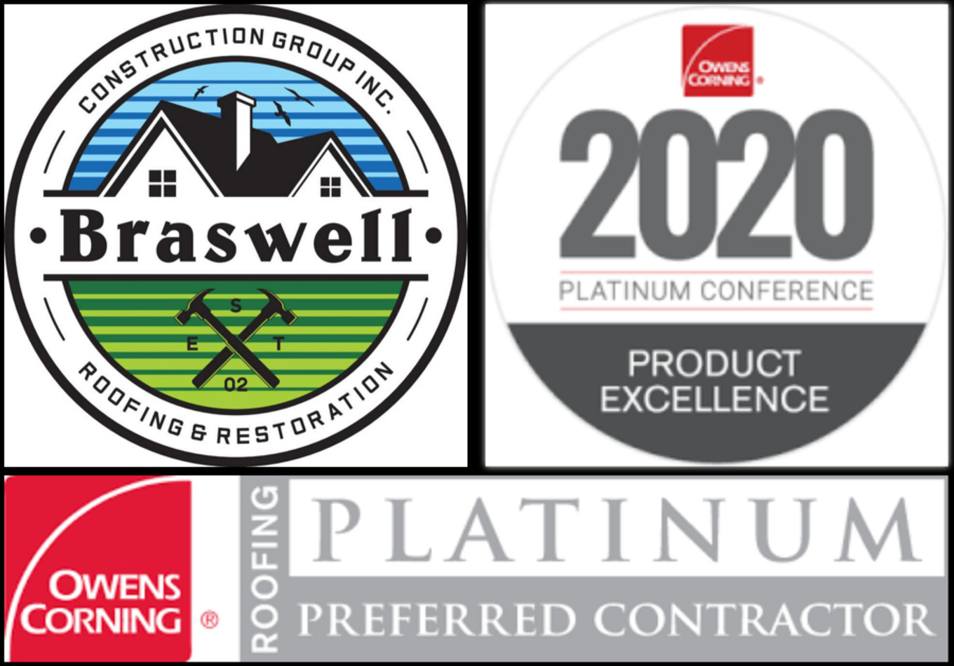 Covington Roofer Braswell Construction Group Receives 2020 Owens Corning Roofer Product Excellence Award