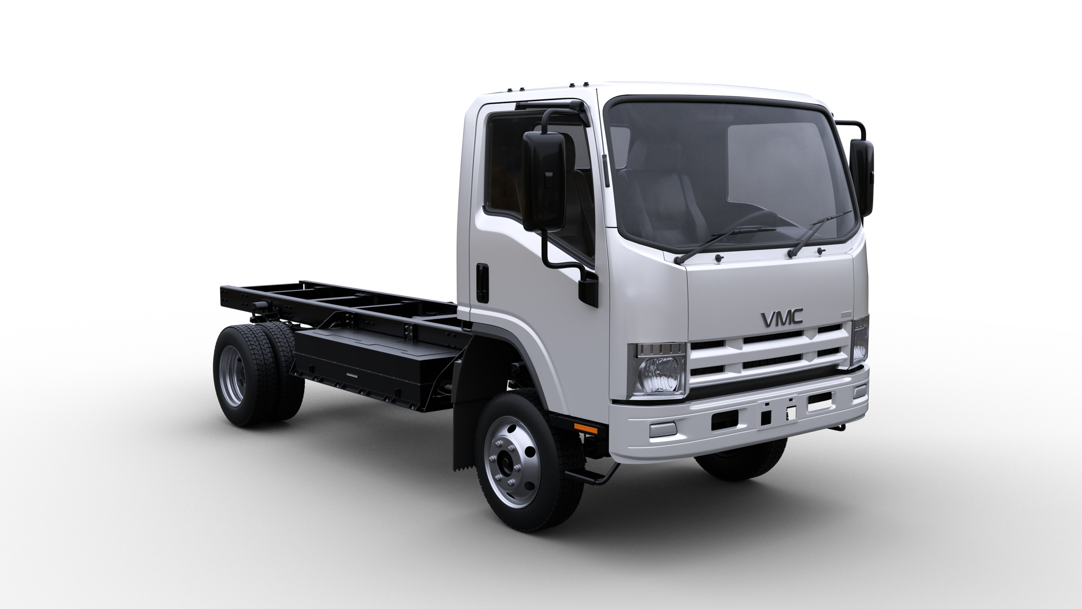A white truck on a black backgroundDescription automatically generated with medium confidence